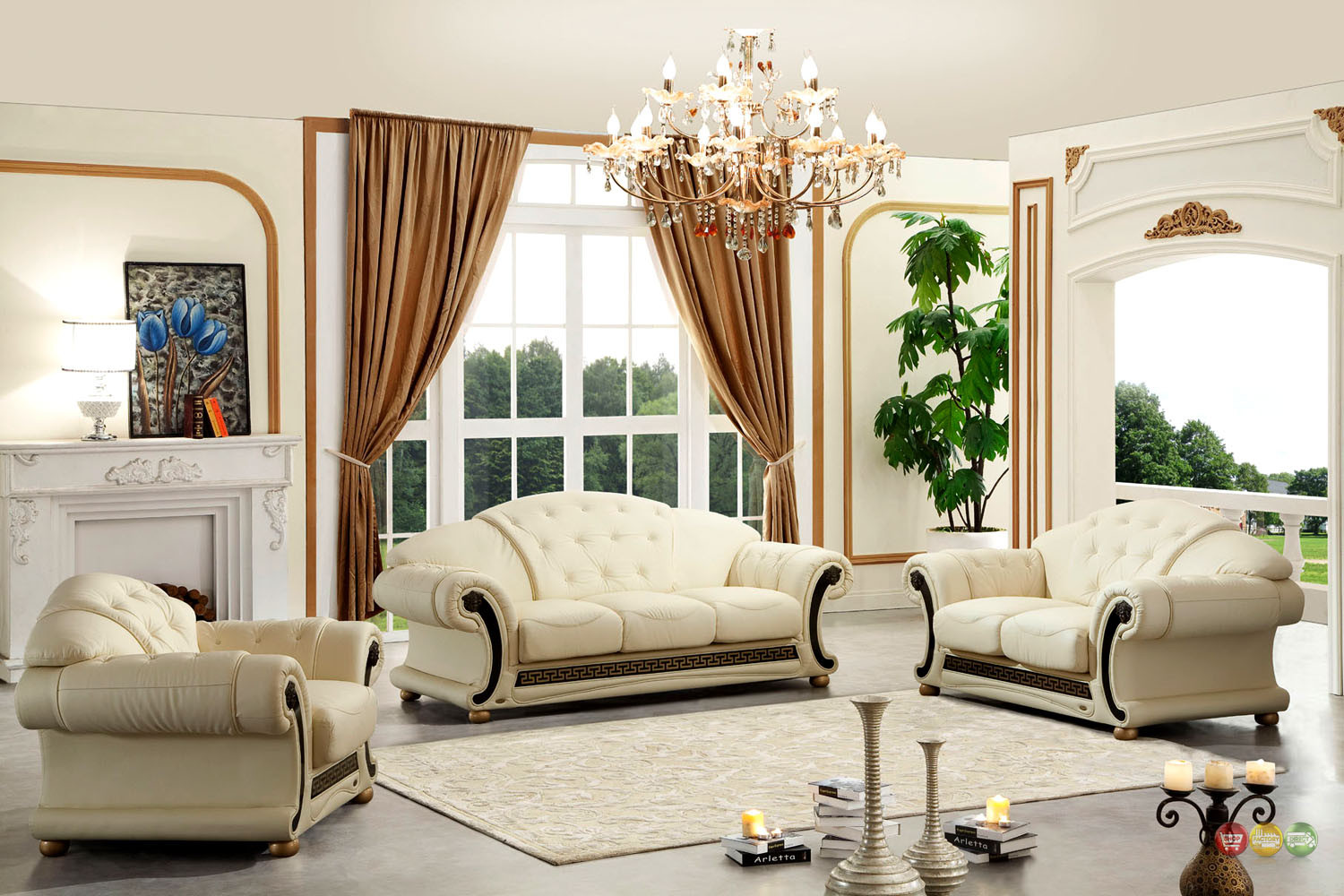 Best ideas about Italian Sofa Set . Save or Pin Versace Cleopatra Cream Italian Top Grain Leather Beige Now.