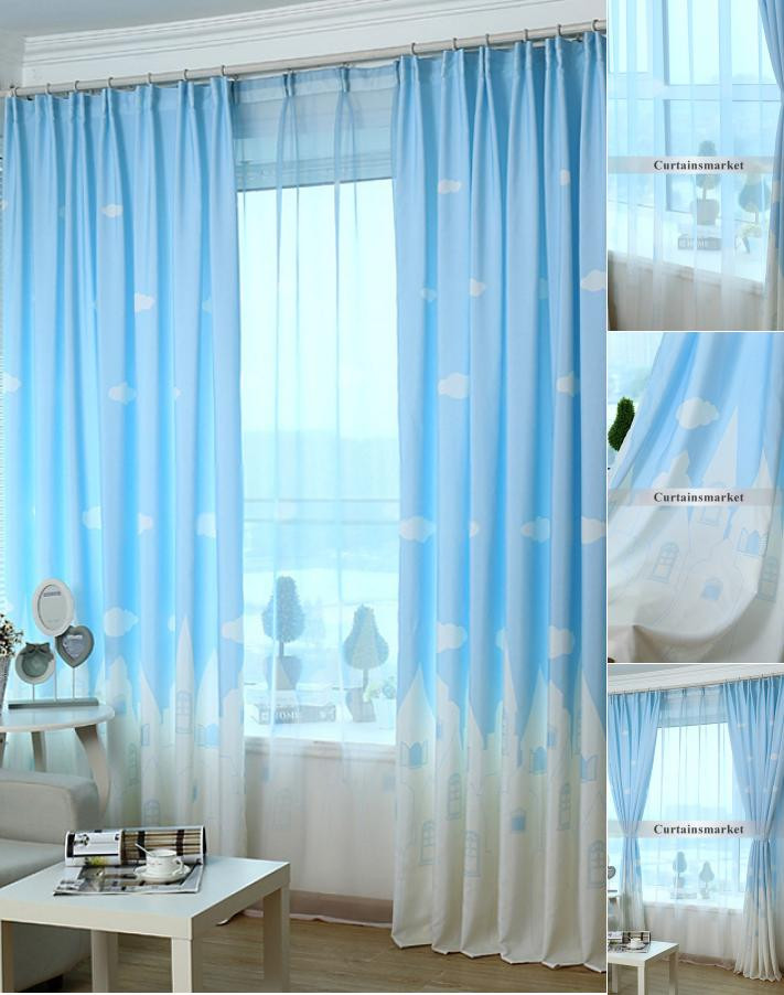 Best ideas about Kid Bedroom Curtain . Save or Pin Cartoon Kids Bedroom Clouds Blue Best Window Curtains Now.