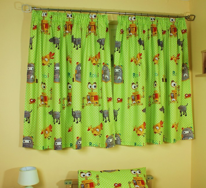 Best ideas about Kid Bedroom Curtain . Save or Pin Kids Childrens Robot Bedding or Bedroom Curtains Now.