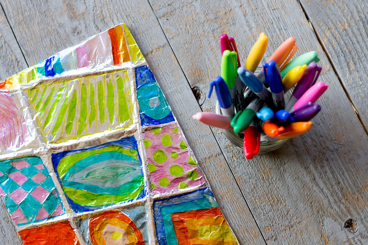 Best ideas about Kids Art Projects . Save or Pin Colorful Zentangle Art Easy Aluminum Foil Kids Project Now.