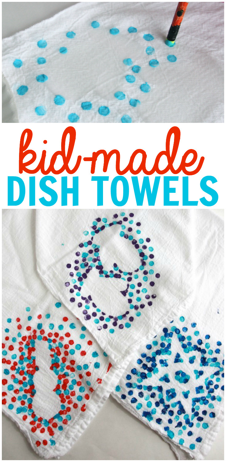 Best ideas about Kids Christmas Craft Gifts . Save or Pin Kid Made Dish Towels Now.