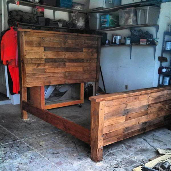 Best ideas about King Size Bed Frame DIY . Save or Pin DIY King Size Pallet Bed Frame Now.