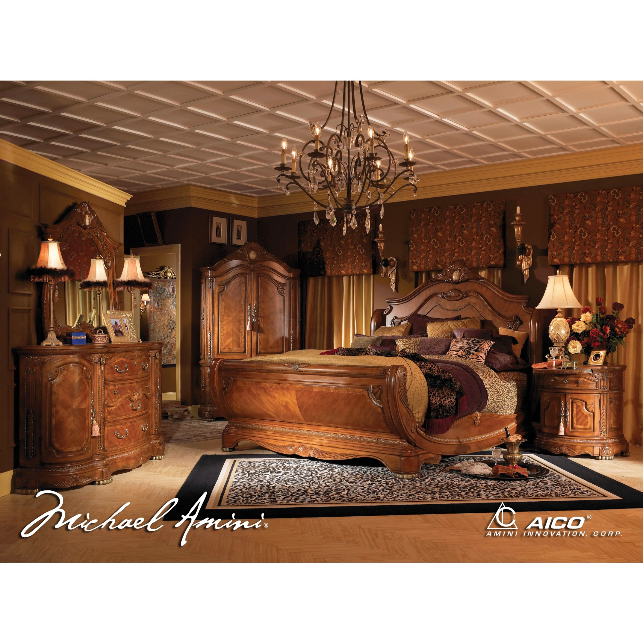 Best ideas about King Size Bedroom Sets . Save or Pin AICO 5pc Cortina California King Size Bedroom Set in Honey Now.