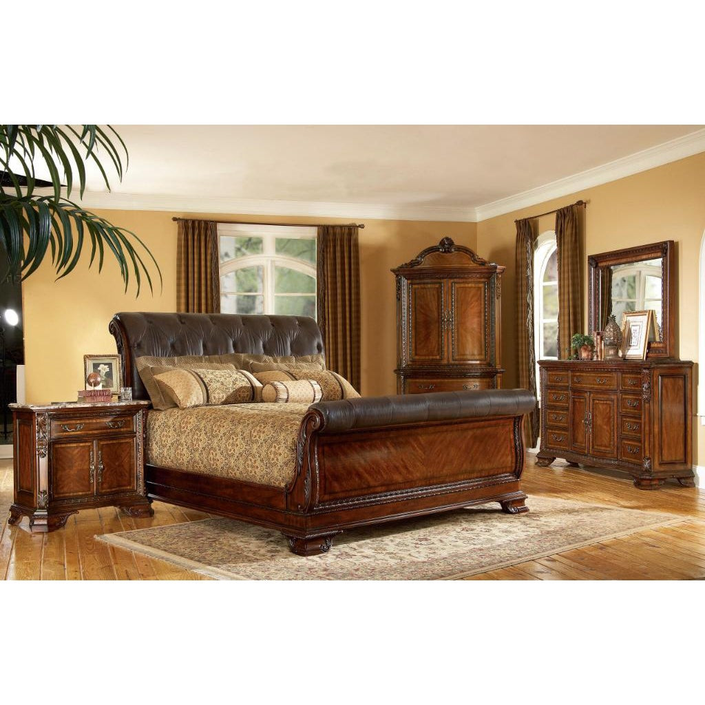 Best ideas about King Size Bedroom Sets . Save or Pin King size 4 piece Wood Leather Sleigh Bedroom Set Now.