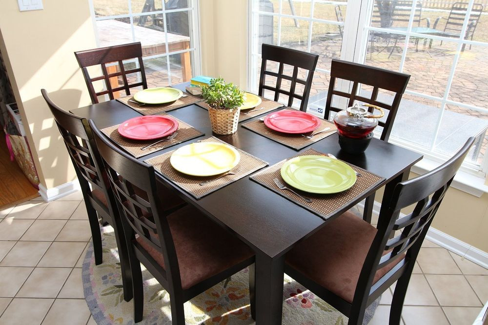 Best ideas about Kitchen & Dining . Save or Pin 7pc Espresso Dining Room Kitchen Set Table & 6 Wheat Now.