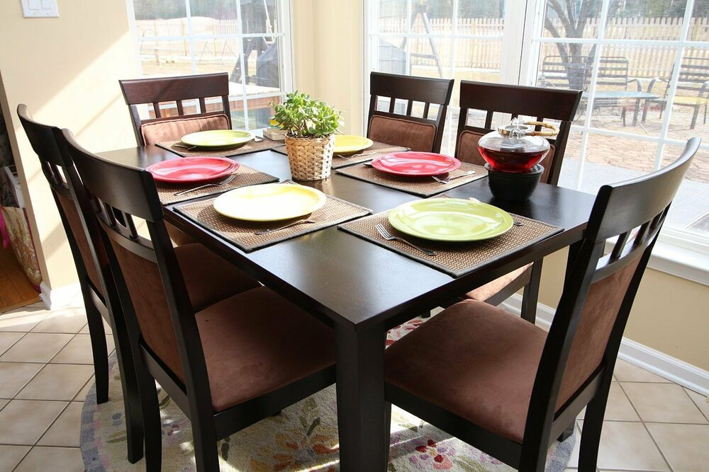 Best ideas about Kitchen & Dining . Save or Pin 7pc Espresso Dining Room Kitchen Set Table & 6 Microfiber Now.
