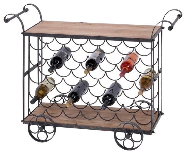 Best ideas about Kitchen Cart With Wine Rack . Save or Pin Aged Wooden Rolling Wine Rack Kitchen Cart 35 Bottle Now.