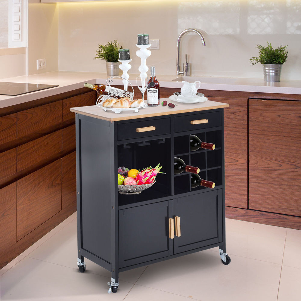 Best ideas about Kitchen Cart With Wine Rack . Save or Pin Portable Kitchen Rolling Cart Island Storage Wine Rack Now.