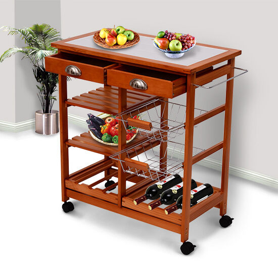 "Best ideas about Kitchen Cart With Wine Rack . Save or Pin 30"" Portable Rolling Kitchen Storage Tile Top Island Now."