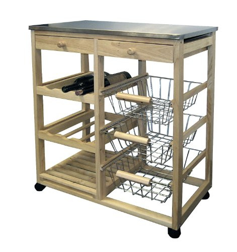 Best ideas about Kitchen Cart With Wine Rack . Save or Pin NEW Wood & Steel Kitchen Utility Island Kitchen Cart Table Now.