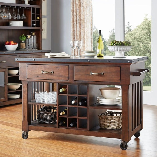 Best ideas about Kitchen Cart With Wine Rack . Save or Pin Norwood 2 drawer Rolling Kitchen Island with Wine Rack Now.