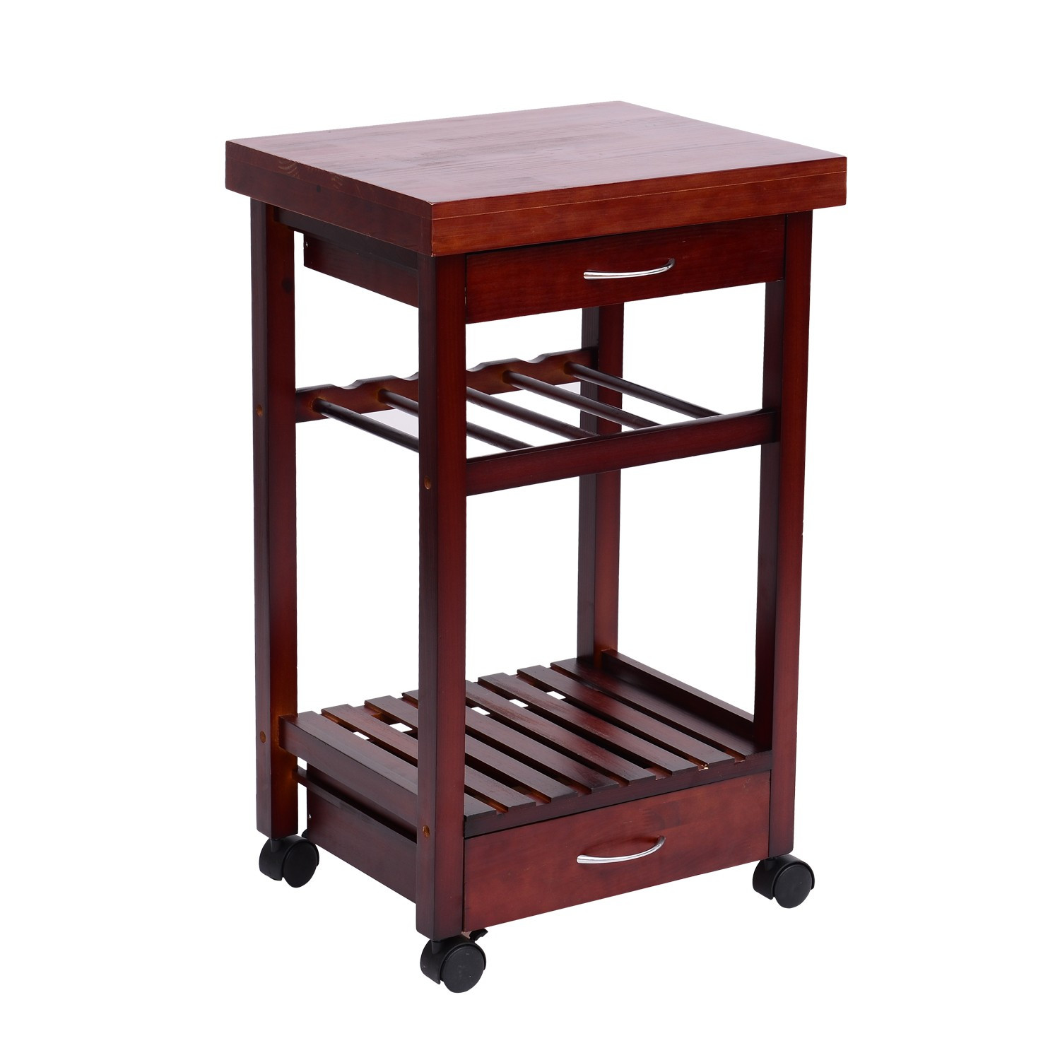 "Best ideas about Kitchen Cart With Wine Rack . Save or Pin Hom 32"" Wooden Storage Rolling Kitchen Cart Trolley Now."
