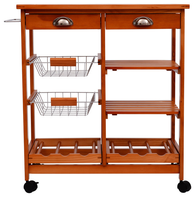 "Best ideas about Kitchen Cart With Wine Rack . Save or Pin Hom 29"" Portable Rolling Trolley Kitchen Cart With Tile Now."