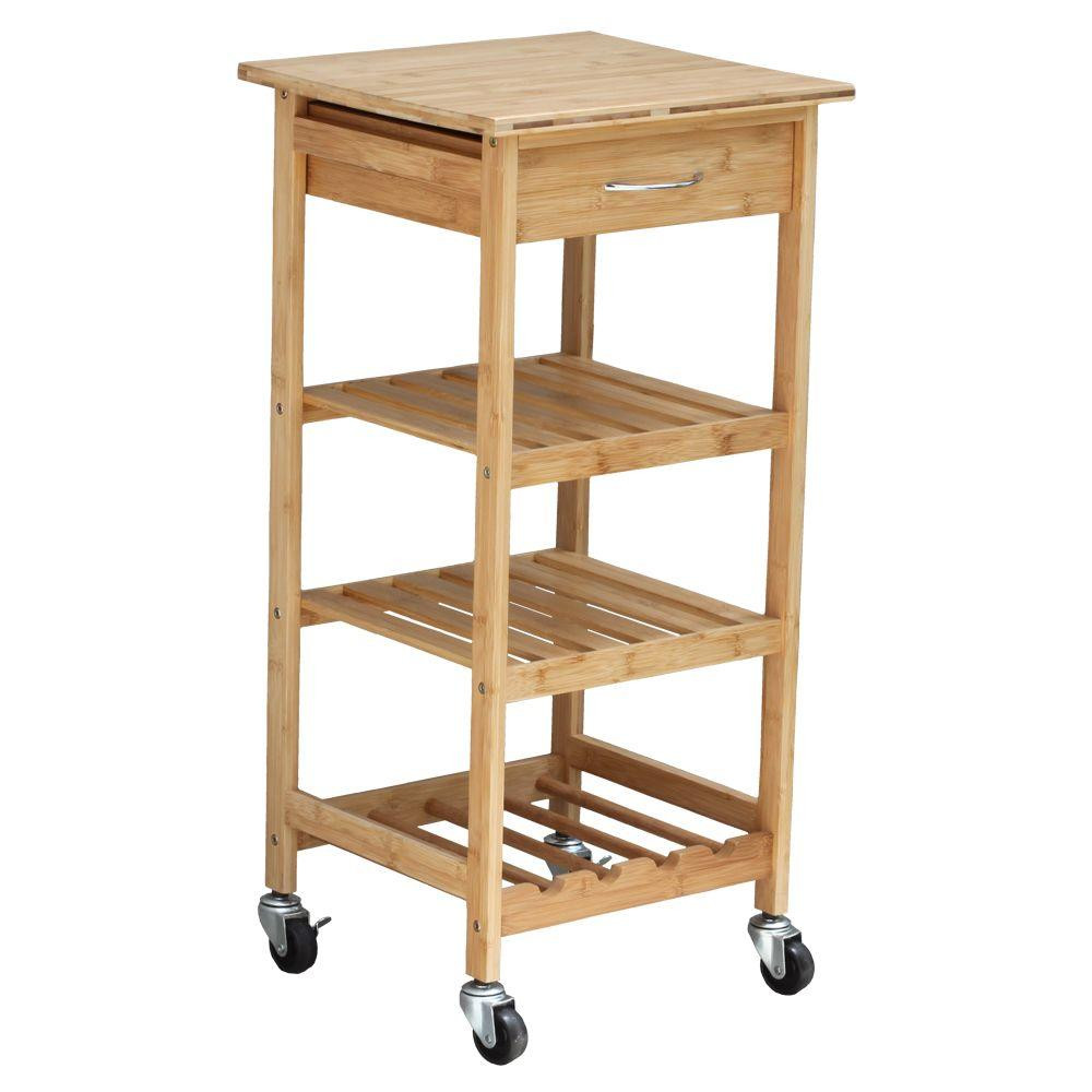 Best ideas about Kitchen Cart With Wine Rack . Save or Pin Oceanstar Bamboo Kitchen Cart With Wine Rack BKC1378 The Now.