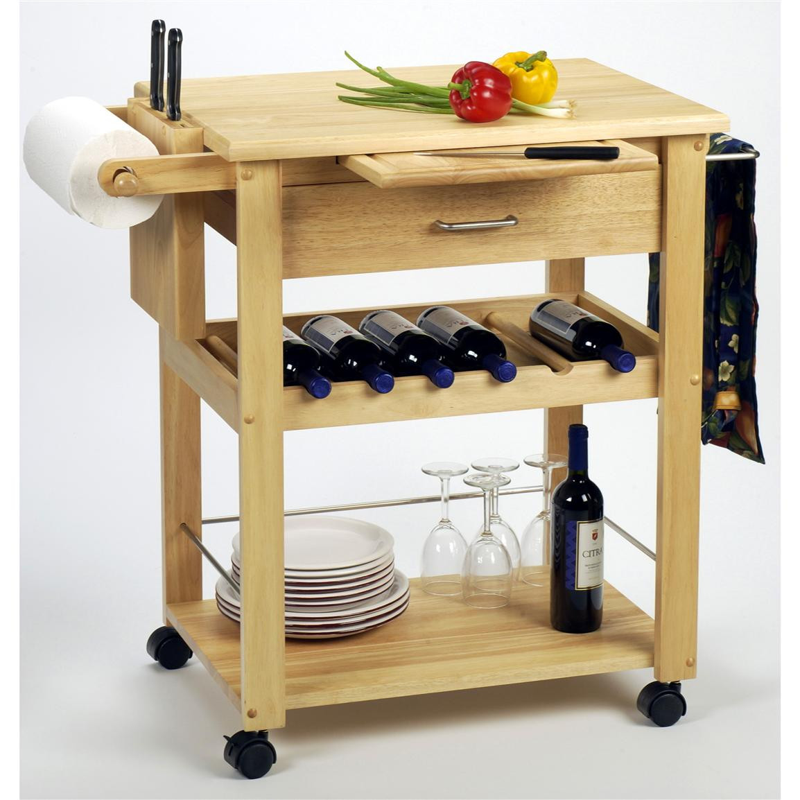 Best ideas about Kitchen Cart With Wine Rack . Save or Pin Winsome Beechwood Kitchen Cart with Wine Rack Now.