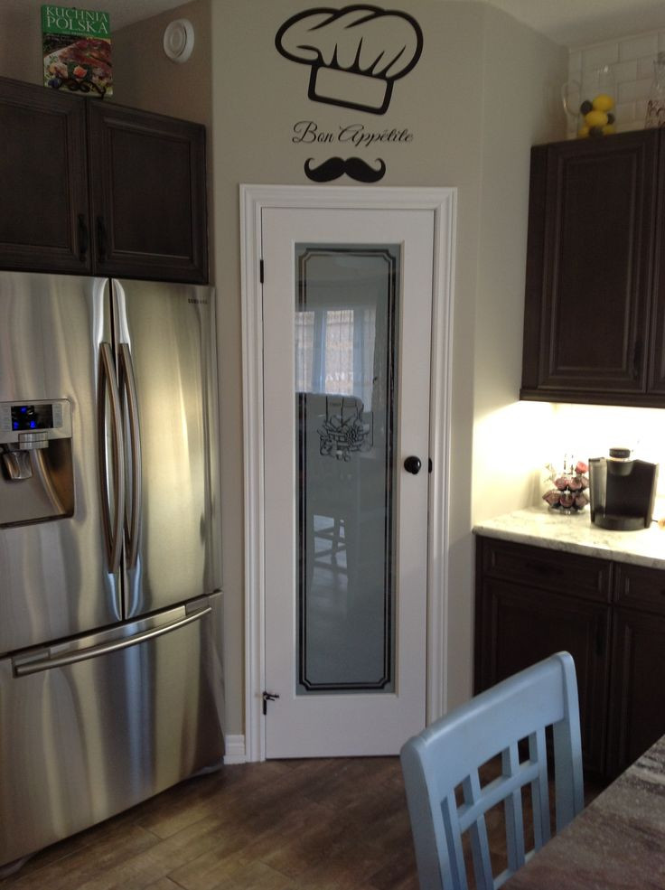 Best ideas about Kitchen Pantry Doors . Save or Pin My kitchen will eventually have a frosted glass pantry Now.