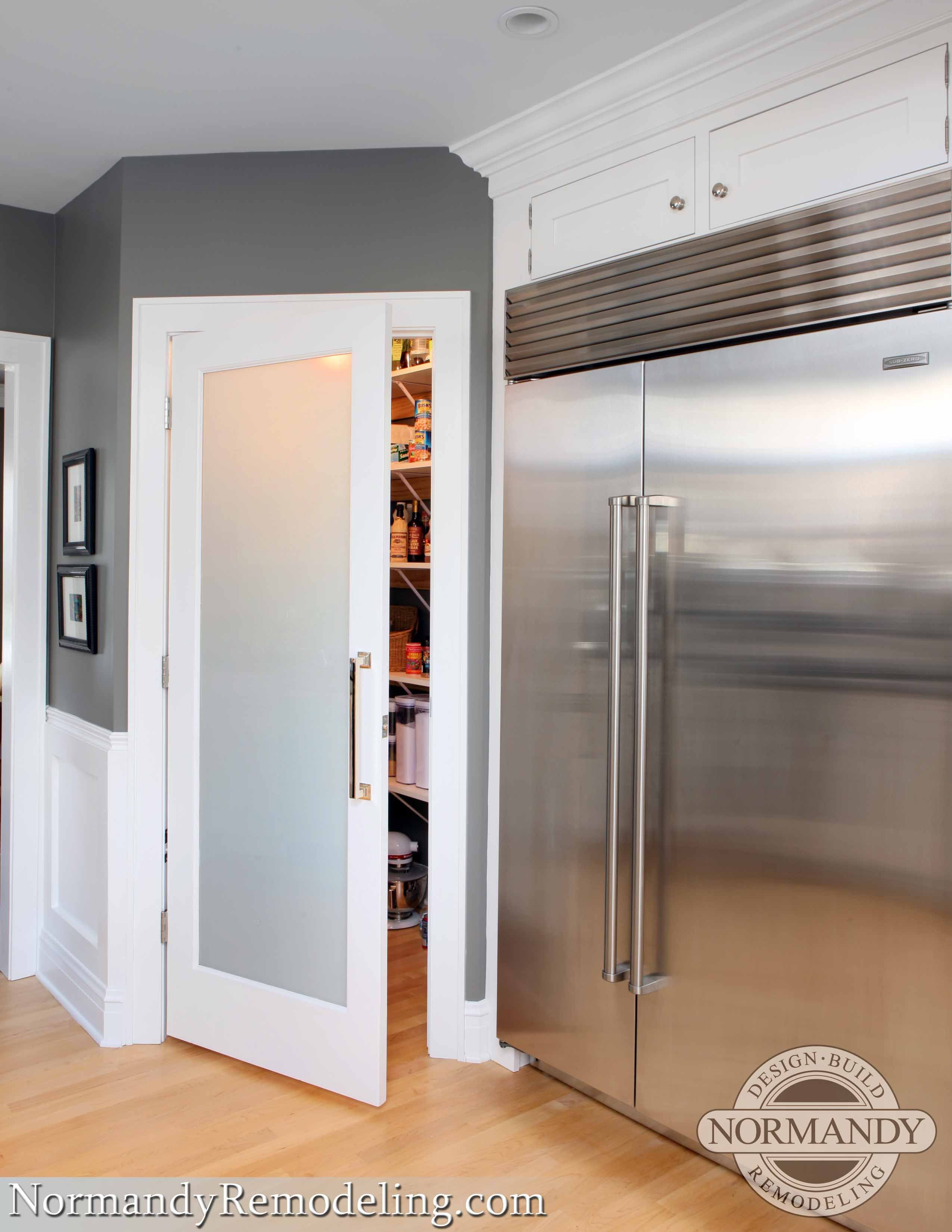 Best ideas about Kitchen Pantry Doors . Save or Pin A frosted pantry door adds a stylish element to this gray Now.