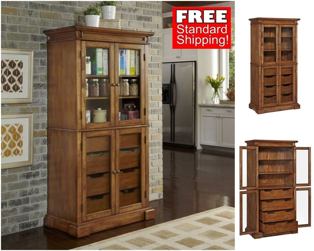 Best ideas about Kitchen Pantry Furniture . Save or Pin Rustic Kitchen Pantry Wood Oak Storage Cabinet Drawer Now.