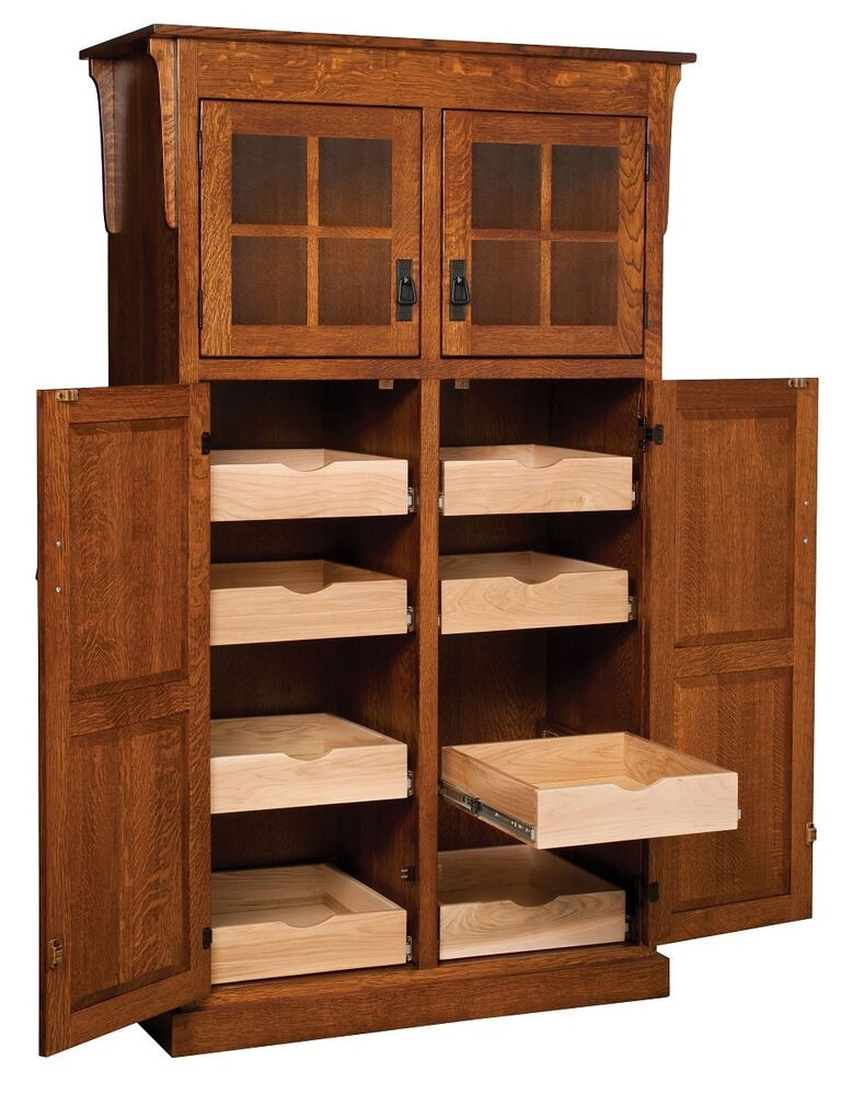 Best ideas about Kitchen Pantry Furniture . Save or Pin Amish Mission Rustic Kitchen Pantry Storage Cupboard Roll Now.