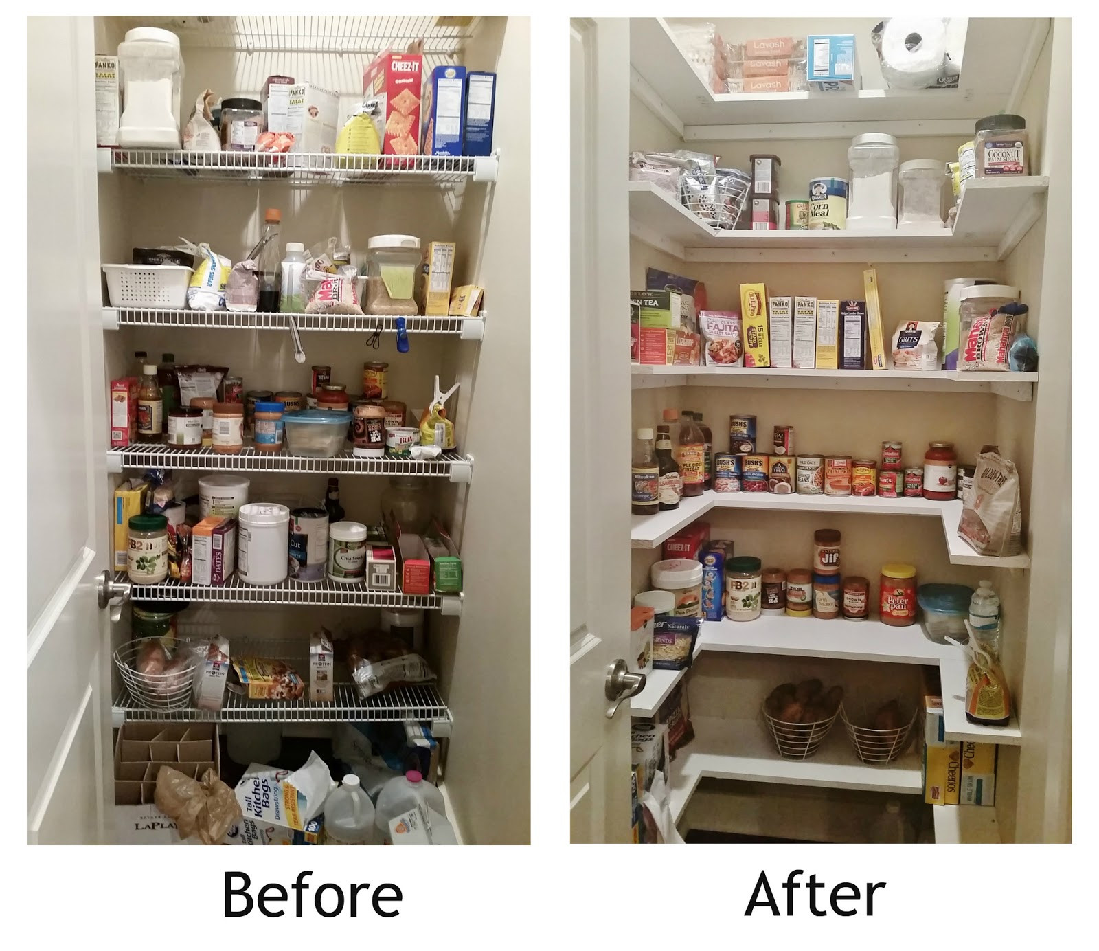 Best ideas about Kitchen Pantry Shelving . Save or Pin Kitchen Pantry Makeover Replace wire shelves with wrap Now.