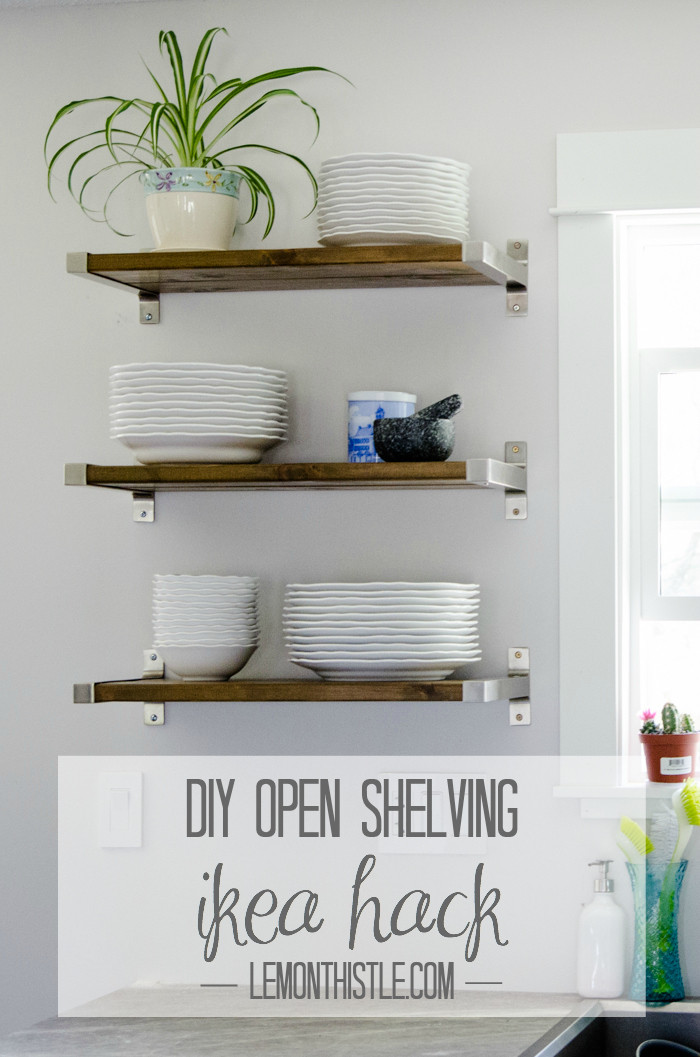 Best ideas about Kitchen Shelves DIY . Save or Pin DIY Open Shelving for our Kitchen Lemon Thistle Now.
