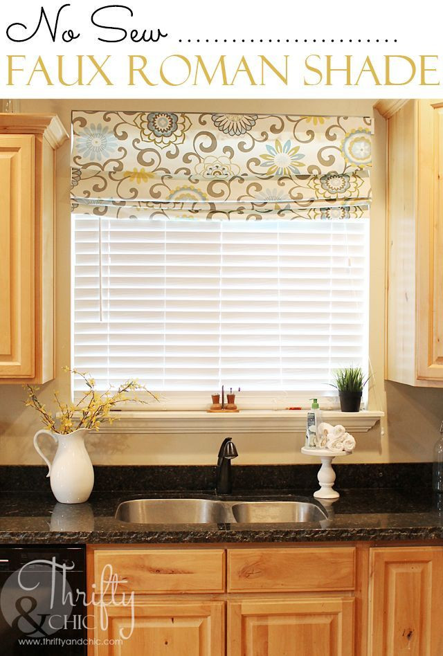 Best ideas about Kitchen Window Treatments DIY . Save or Pin No Sew Faux Roman Shade that can actually move and drop Now.