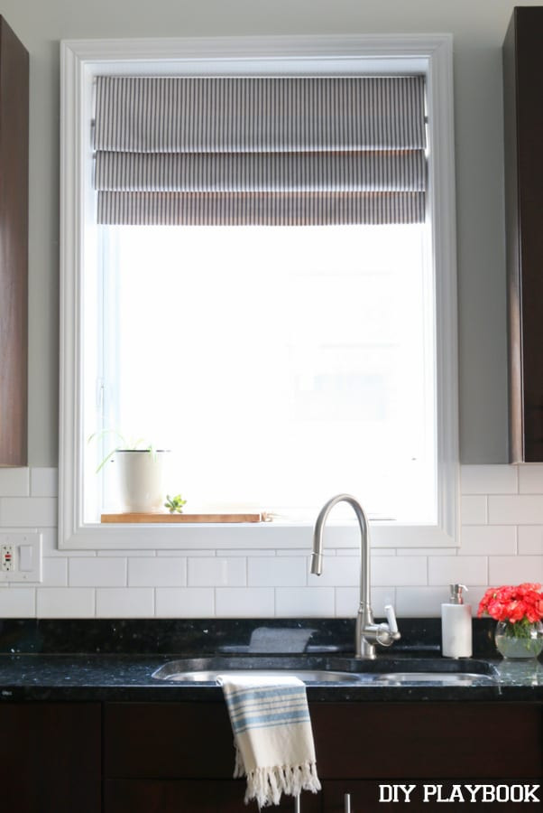 Best ideas about Kitchen Window Treatments DIY . Save or Pin DIY Faux Roman Shade for the Kitchen DIY Playbook Now.