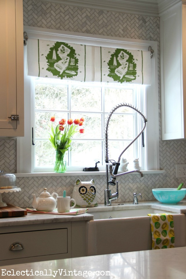 Best ideas about Kitchen Window Treatments DIY . Save or Pin DIY Dish Towel Window Treatment Brighten Up Your View Now.