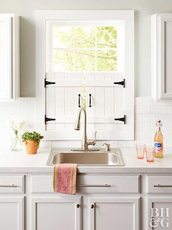 Best ideas about Kitchen Window Treatments DIY . Save or Pin DIY Farmhouse Kitchen Window Shutters Now.
