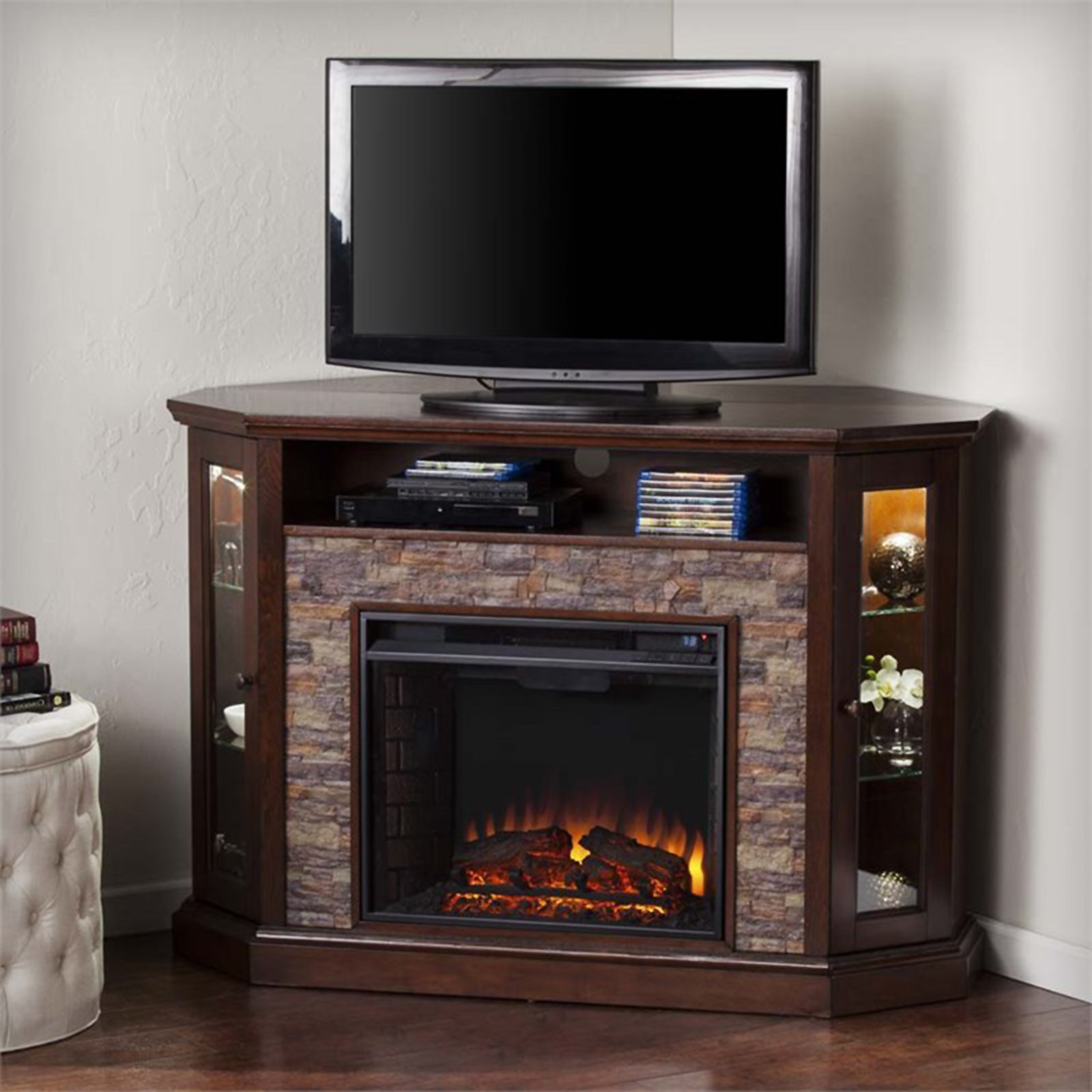 Best ideas about Kmart Fireplace Tv Stand . Save or Pin Southern Enterprise Electric Fireplace TV Stand Sears Now.