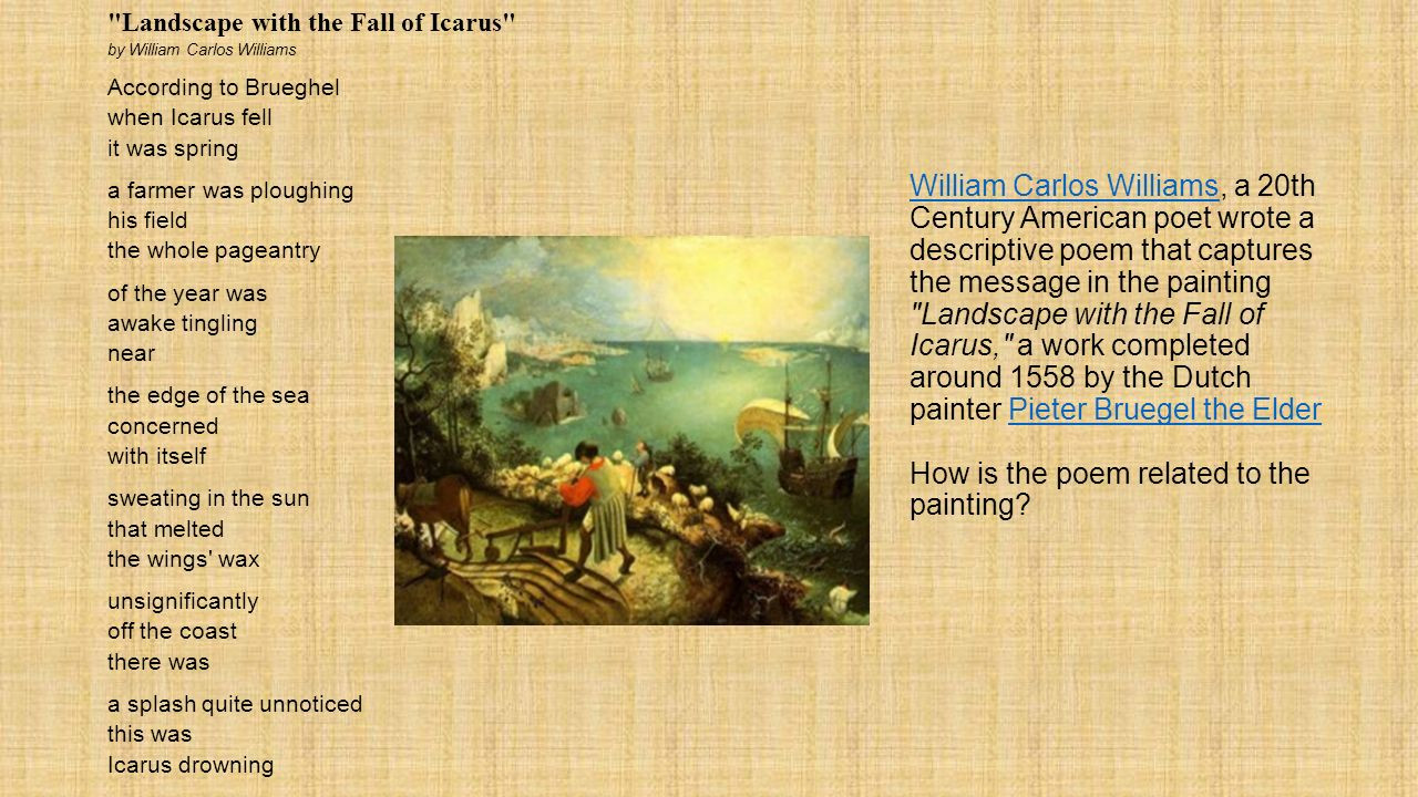 Best ideas about Landscape With The Fall Of Icarus Poem . Save or Pin Download Landscape With The Fall Icarus Poem Now.