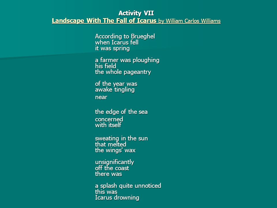 Best ideas about Landscape With The Fall Of Icarus Poem . Save or Pin Landscape with the Fall of Icarus ppt video online Now.