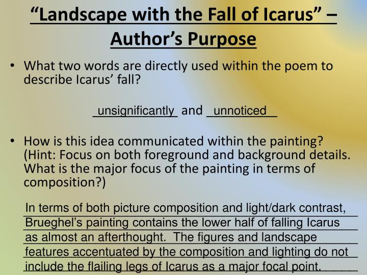 Best ideas about Landscape With The Fall Of Icarus Poem . Save or Pin PPT Literary Device Allusion PowerPoint Presentation Now.