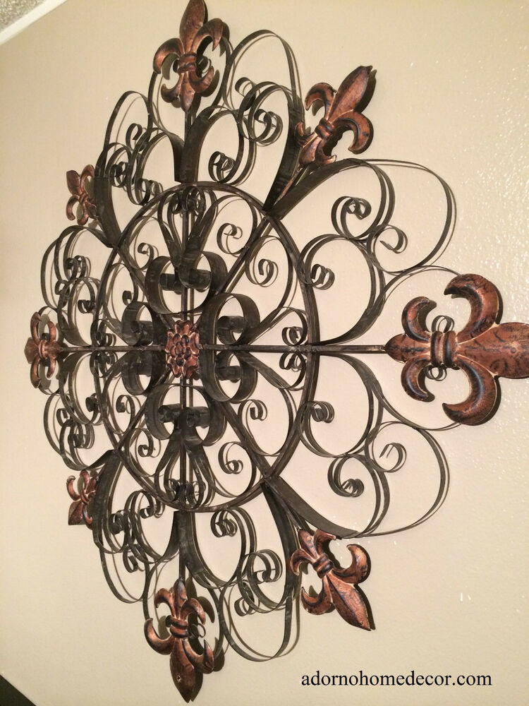 Best ideas about Large Metal Wall Art . Save or Pin Unique Fleur De Lis Round Metal Wall Rustic Scroll Now.