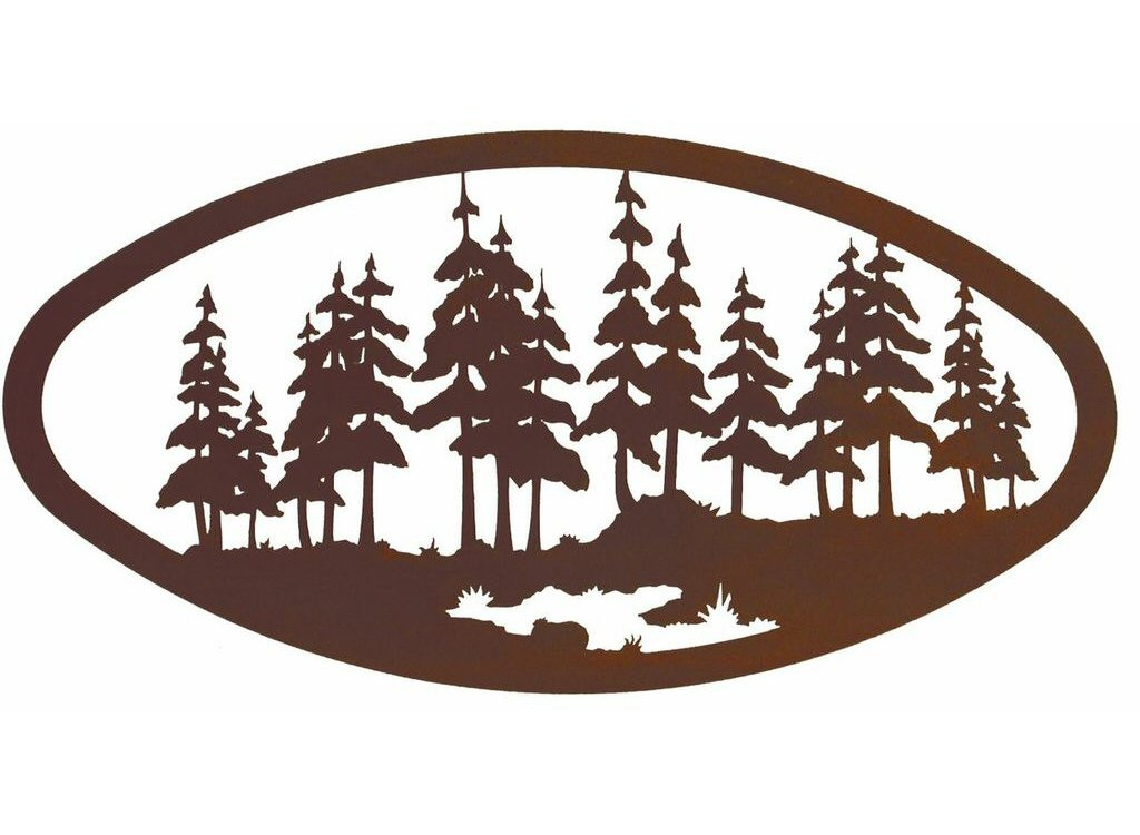 """Best ideas about Large Metal Wall Art . Save or Pin 22"""" Oval Pine Forest Metal Wall Art Nature Wall Decor Now."""
