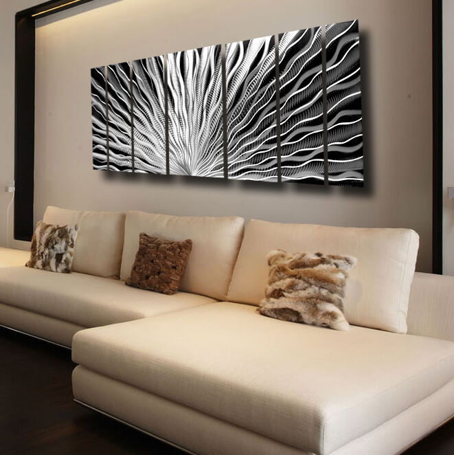 Best ideas about Large Metal Wall Art . Save or Pin Silver Metal Wall Art Panels Modern Abstract Indoor Now.