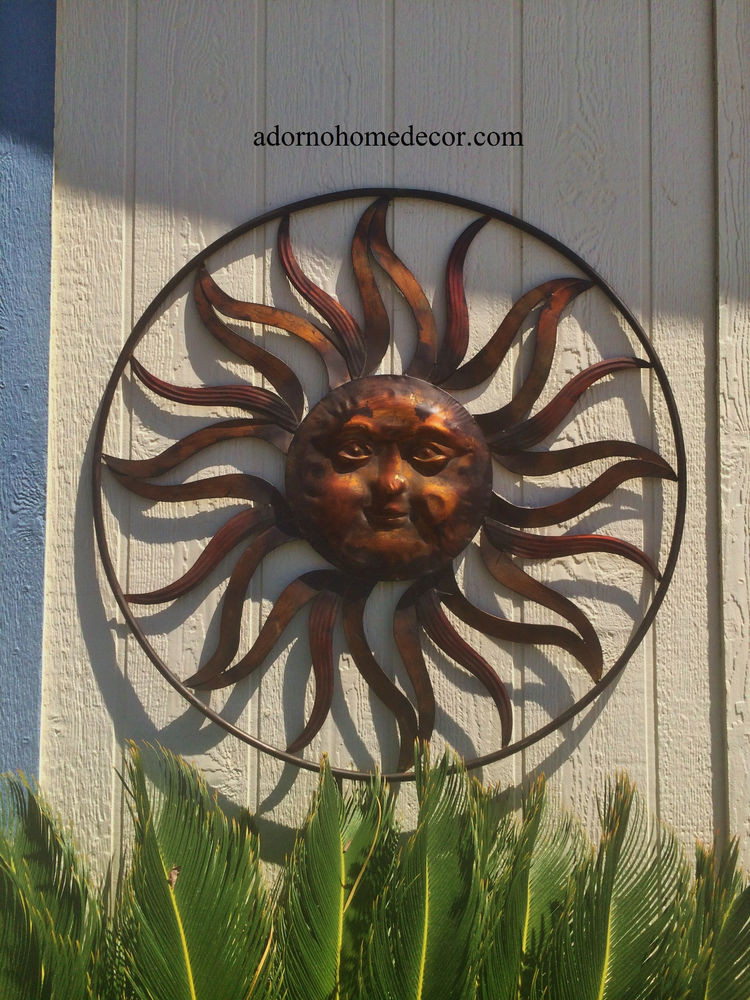 Best ideas about Large Outdoor Metal Wall Art . Save or Pin Round Metal Sun Wall Decor Rustic Garden Art Indoor Now.