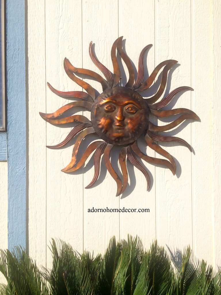 Best ideas about Large Outdoor Metal Wall Art . Save or Pin Metal Sun Wall Decor Rustic Garden Art Indoor Now.