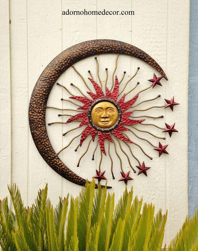Best ideas about Large Outdoor Metal Wall Art . Save or Pin Metal Celestial Moon Sun Decor Garden Art Indoor Now.