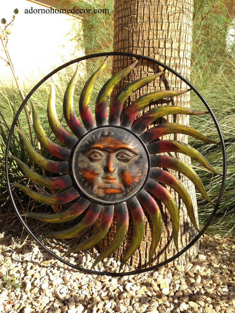 Best ideas about Large Outdoor Metal Wall Art . Save or Pin Round Metal Sun Wall Decor Garden Art Indoor Outdoor Now.
