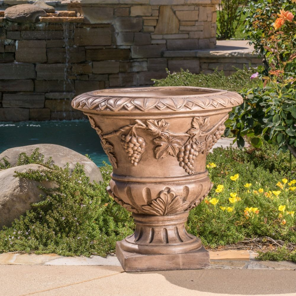 """Best ideas about Large Outdoor Planters . Save or Pin 21"""" Brown Stone Roman Decor Outdoor Garden Urn Now."""