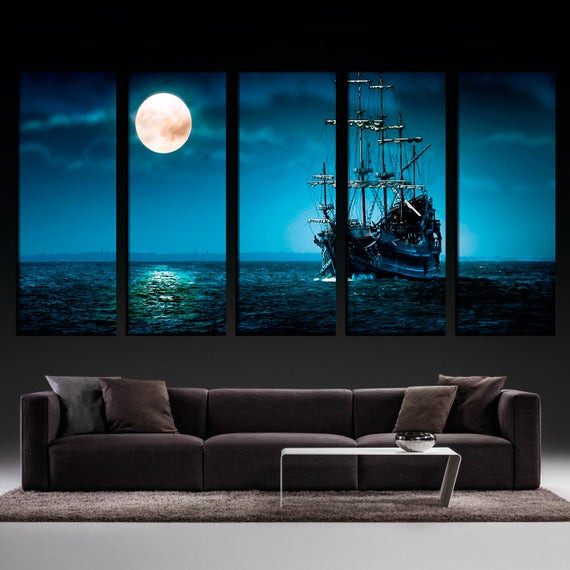 Best ideas about Large Wall Art For Living Room . Save or Pin Moonlight Ocean Ship Extra Wall Art Living Room Wall Now.