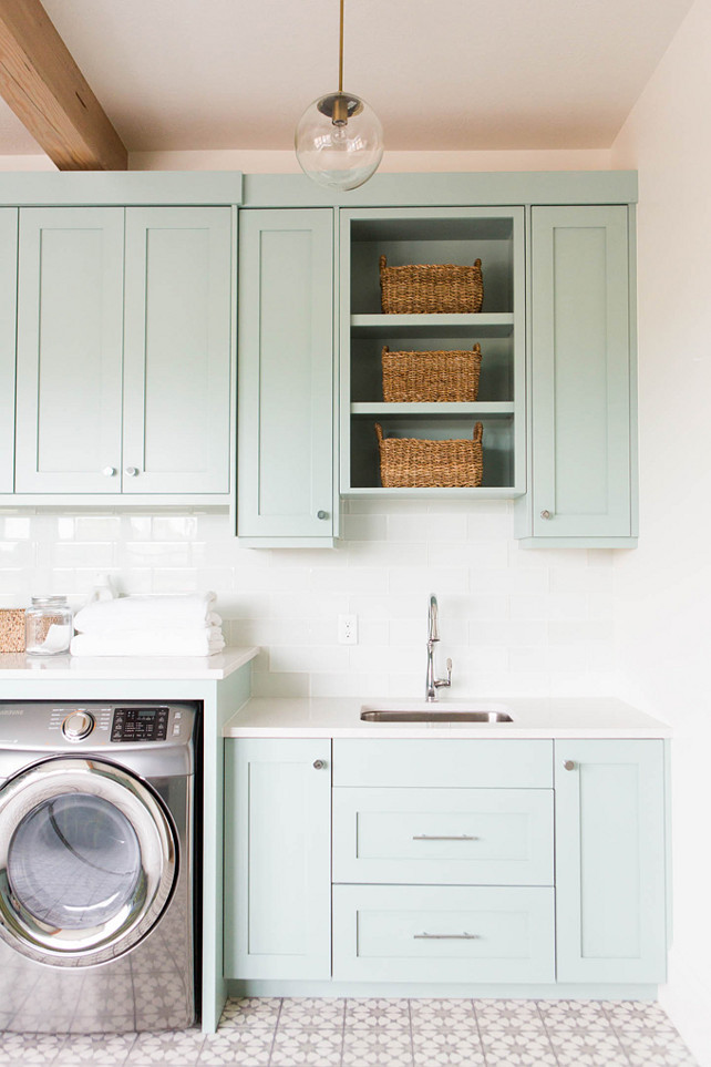 Best ideas about Laundry Room Cabinet Ideas . Save or Pin Coastal Blue Laundry Room Design Home Bunch Interior Now.
