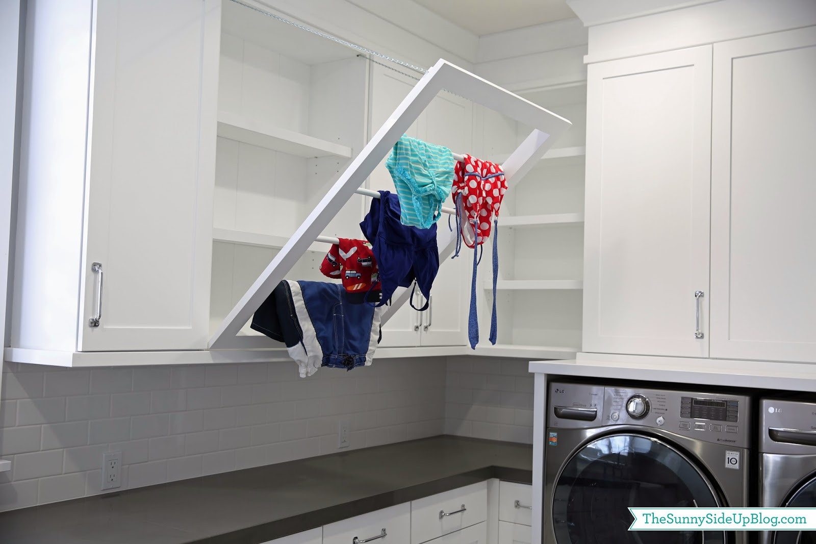 Best ideas about Laundry Room Drying Rack . Save or Pin Downstairs Laundry Room The Sunny Side Up Blog Now.