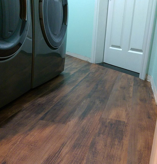 Best ideas about Laundry Room Flooring . Save or Pin Transform Your Laundry Room Floor With Faux Wood Vinyl Now.