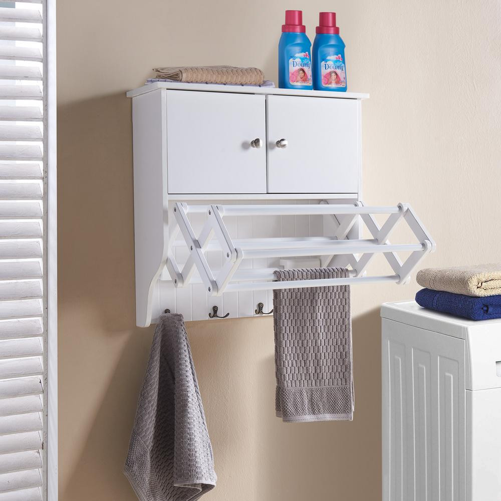 Best ideas about Laundry Room Rack . Save or Pin Laundry Cabinet Drying Rack Extendable Accordian Space Now.