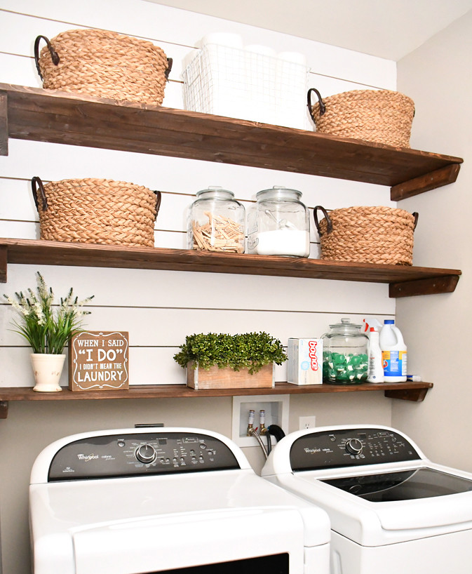 Best ideas about Laundry Room Shelf . Save or Pin Laundry Room Shiplap and DIY Wood Shelves Easy Tutorial Now.