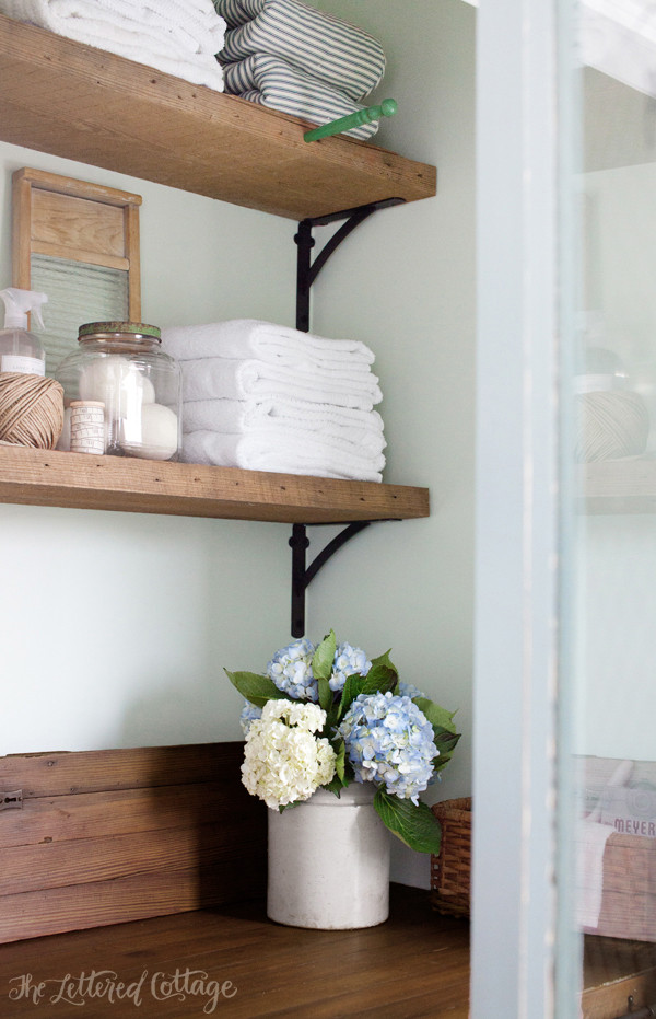 Best ideas about Laundry Room Shelf . Save or Pin Laundry Room Countertop and Reclaimed Wood Shelves Now.