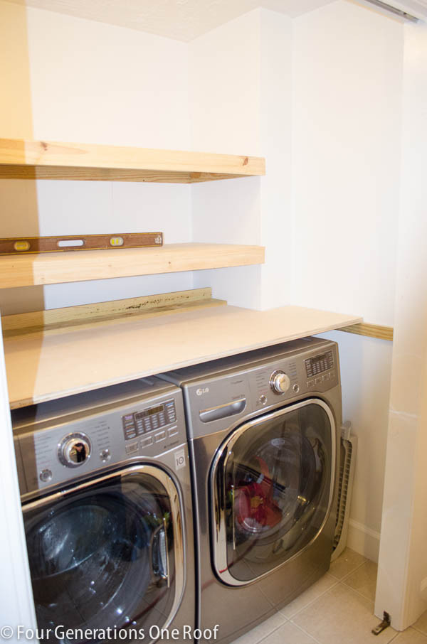 Best ideas about Laundry Room Shelf . Save or Pin DIY Floating Shelves laundry room Four Generations e Now.
