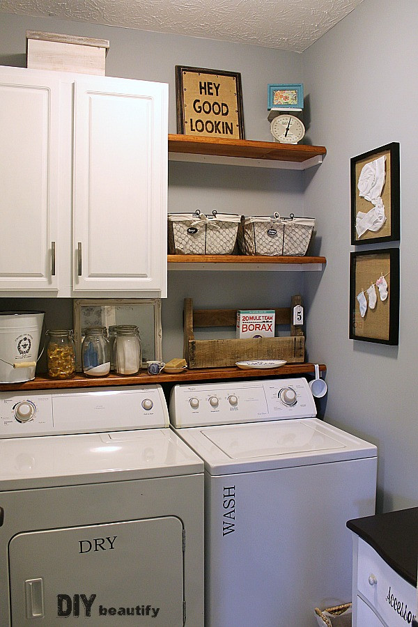 Best ideas about Laundry Room Shelf . Save or Pin Farmhouse Modern Laundry Room Reveal Now.